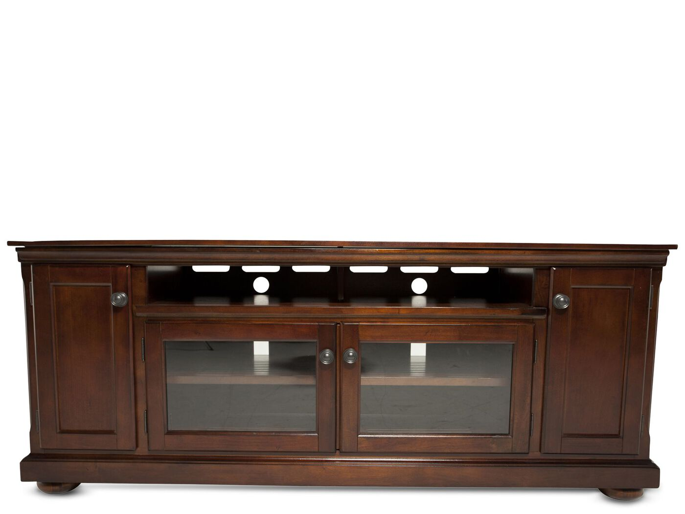 Fully Framed Traditional Tv Stand In Dark Brown Mathis