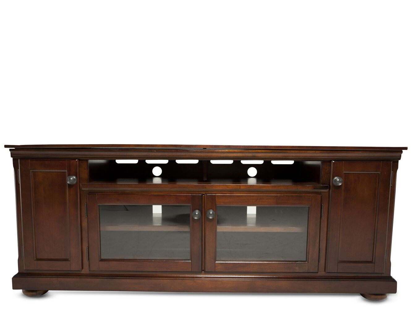 fully framed traditional tv stand in dark brown mathis brothers. Black Bedroom Furniture Sets. Home Design Ideas