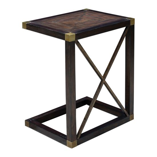 Cross Accent Side Table in Dusty Black