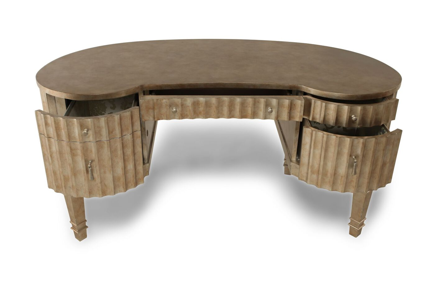 63 Transitional Fluted Kidney Desk
