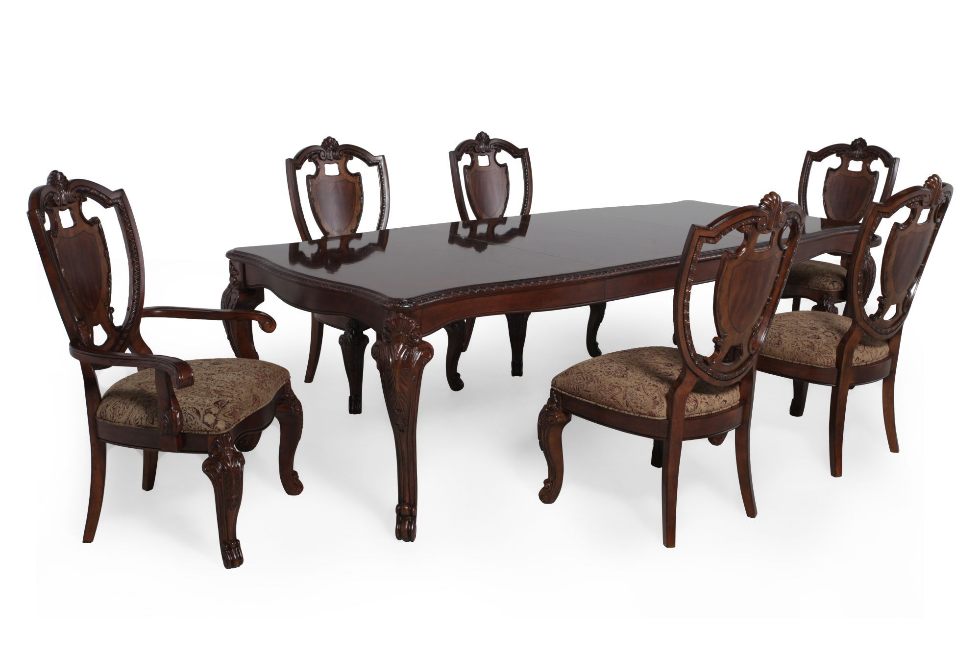 Good Seven Piece Traditional 106u0026#39;u0026#39; Dining Set In Rich