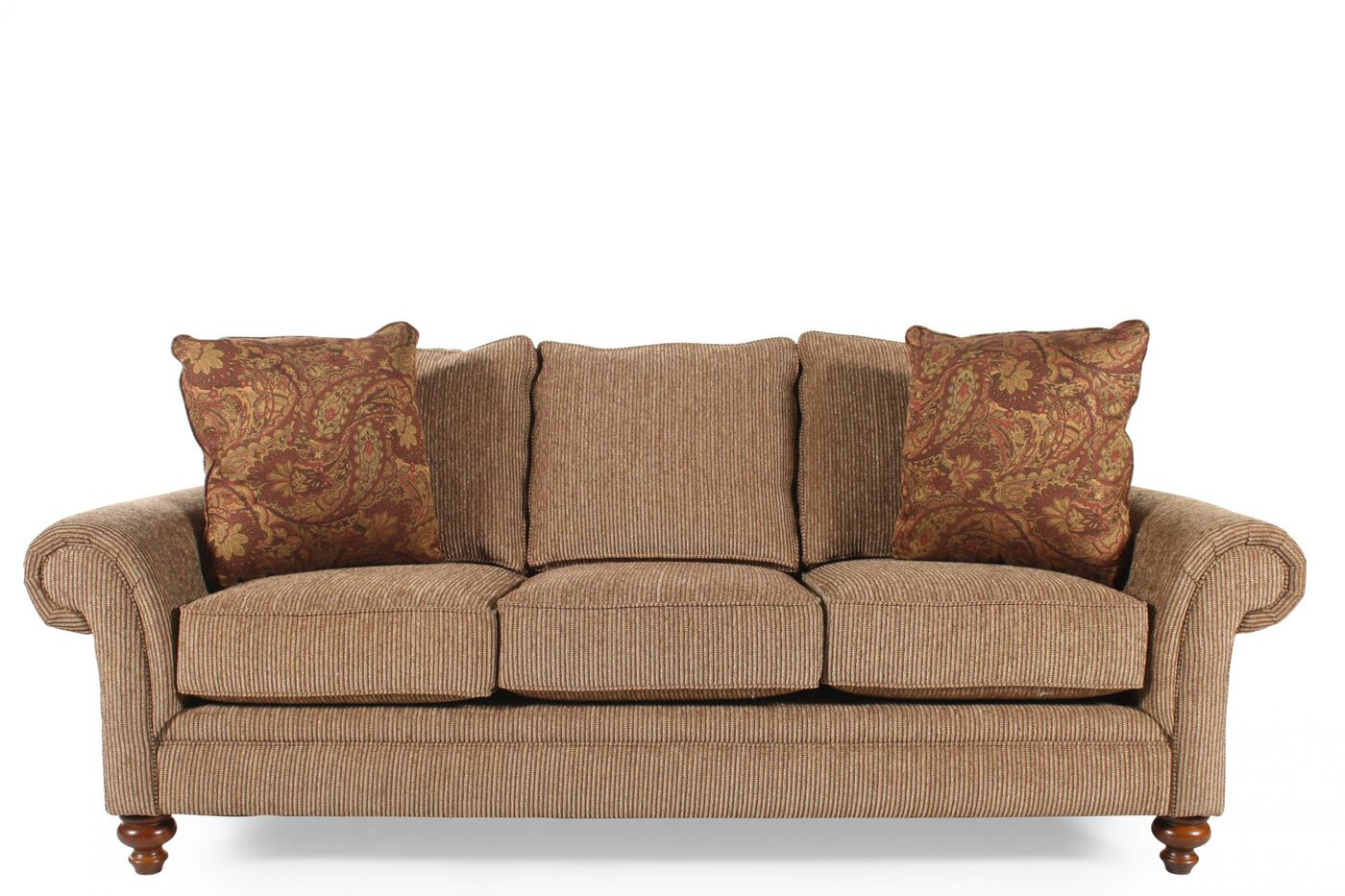 Corduroy casual 88 sofa in nut brown mathis brothers for Brown corduroy couch