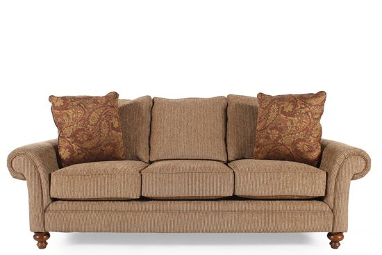 Corduroy casual 88 sofa in nut brown mathis brothers furniture for Mathis brothers living room furniture