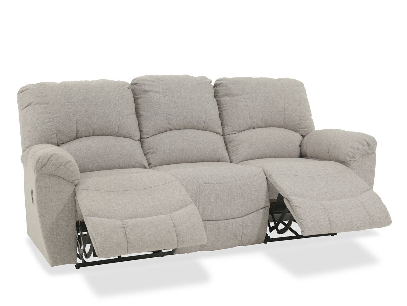 Casual 87 reclining sofa in gray mathis brothers furniture for Casual couch
