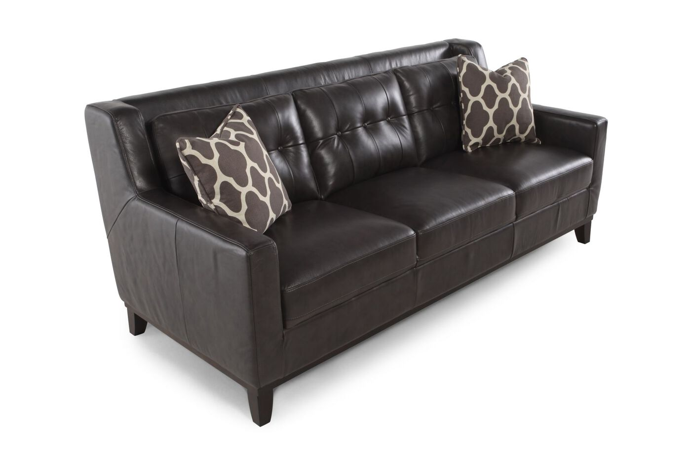 button tufted leather 80 sofa in dark gray mathis brothers furniture. Black Bedroom Furniture Sets. Home Design Ideas