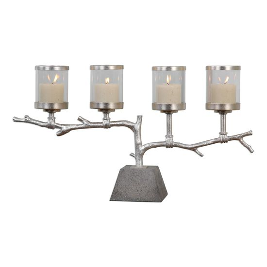 Four-Candle Branch Candelabra in Silver