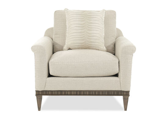 "Nailhead-Trimmed Transitional 40"" Chair and a Half in Beige"