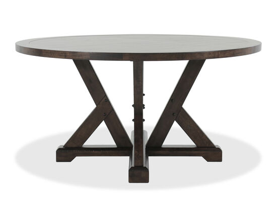 """Contemporary 60"""" Timber Beam Base Table in Medium Brown"""