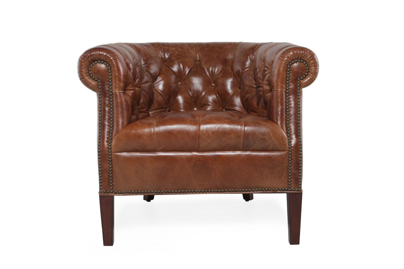 Button-Tufted Leather Tub Chair in Chestnut Brown | Mathis Brothers ...