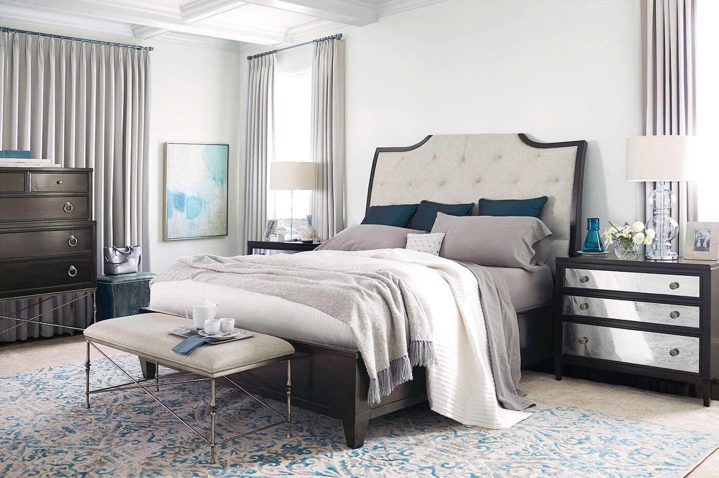 Bernhardt Sutton House Upholstered Sleigh Bed Mathis Brothers