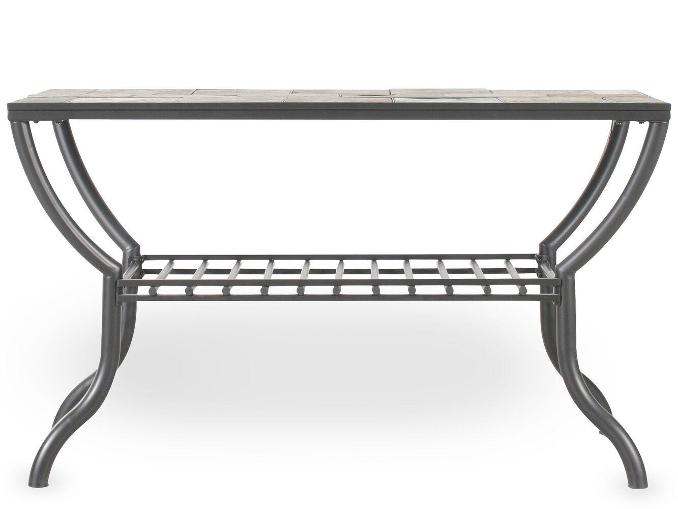 Grilled shelf contemporary sofa table in gun metal mathis grilled shelf contemporary sofa table in gun metal geotapseo Gallery