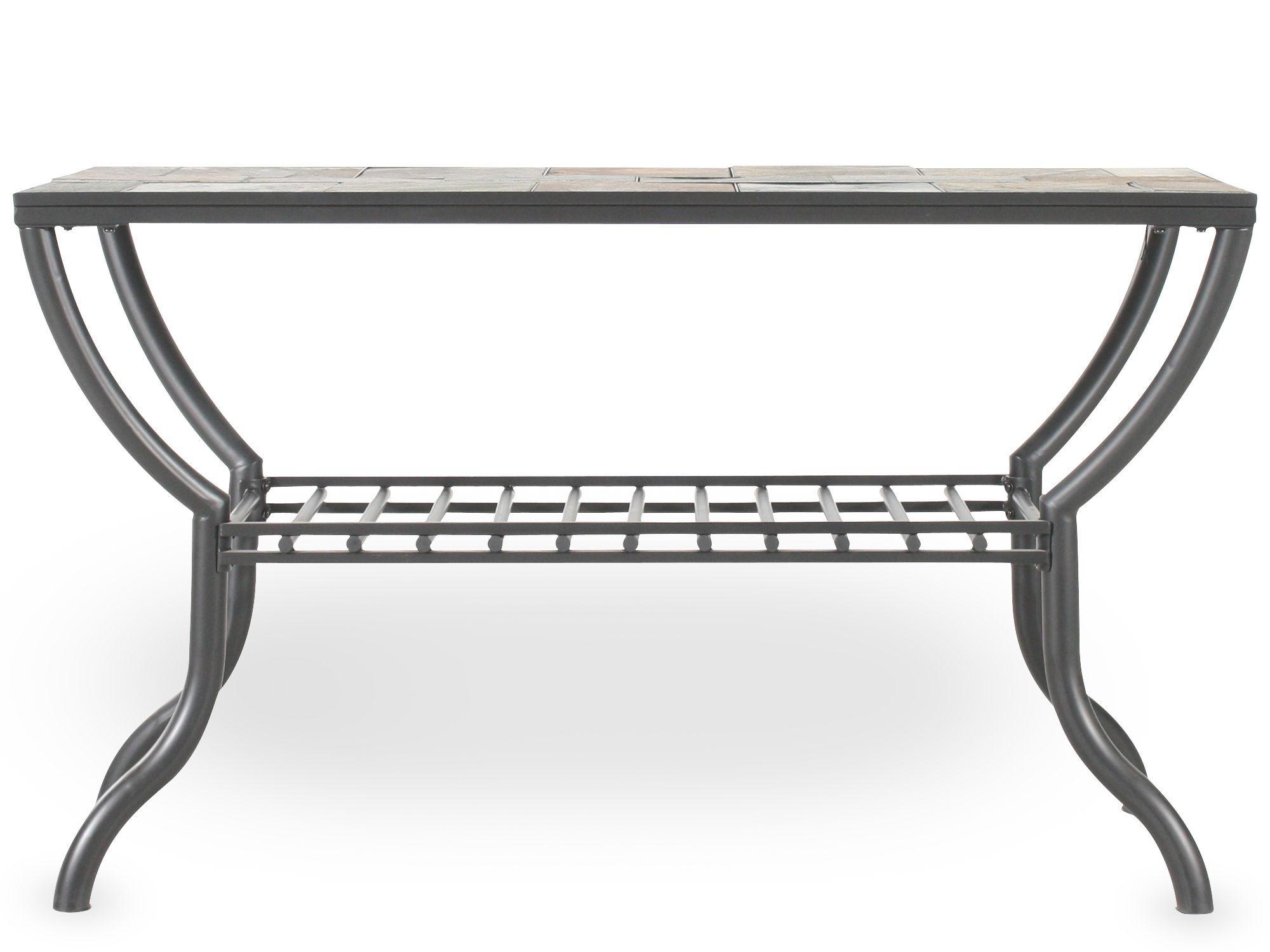 Grilled Shelf Contemporary Sofa Table In Gun Metal