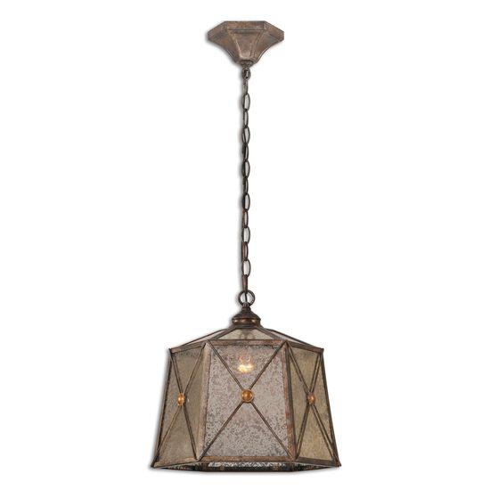 Hexagonal Mercury Glass Pendant Light