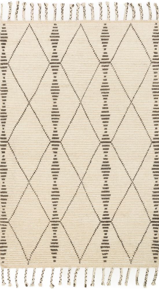 """Transitional 1'-6""""x1'-6"""" Square Rug in Ivory/Pebble"""