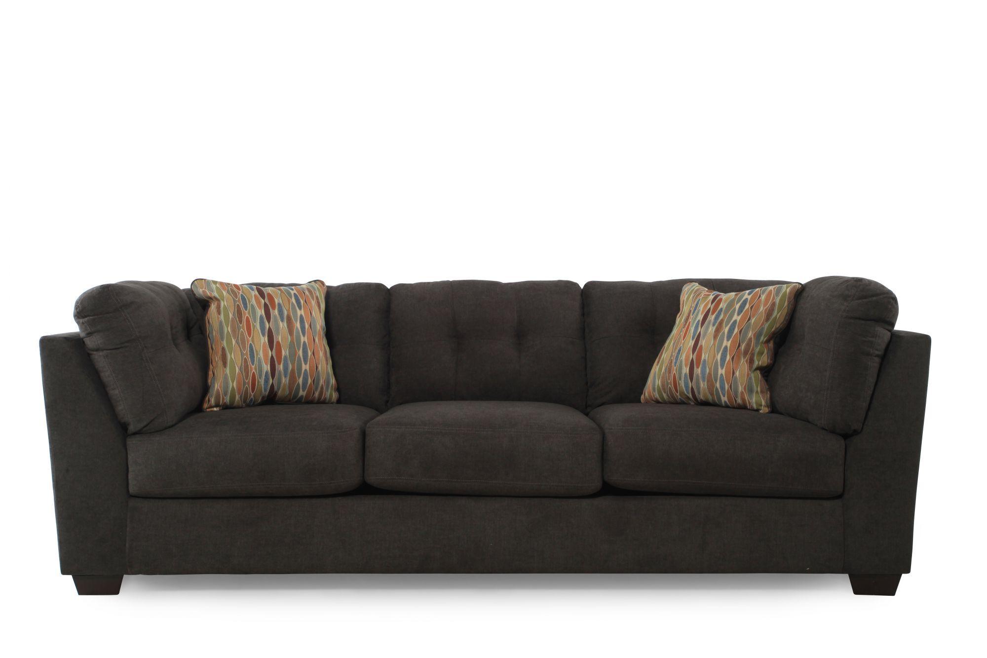 Images Tufted 103u0026quot; Microfiber Sofa In Chocolate Brown Tufted 103u0026quot; Microfiber  Sofa In Chocolate Brown