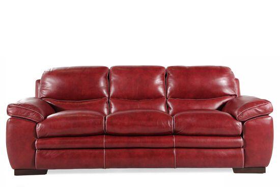 "Leather 90"" Contemporary Sofa in Salsa"
