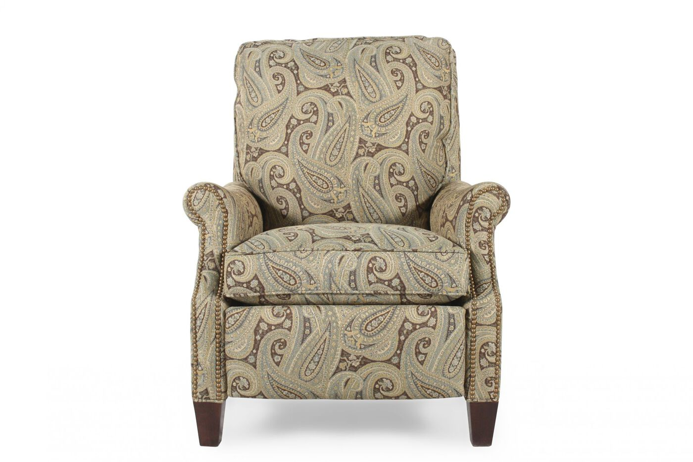 Contemporary paisley patterned 33 5 pressback recliner mathis brothers furniture for Mathis brothers living room furniture