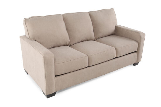 "Contemporary 76"" Full Sleeper Sofa in Light Brown"