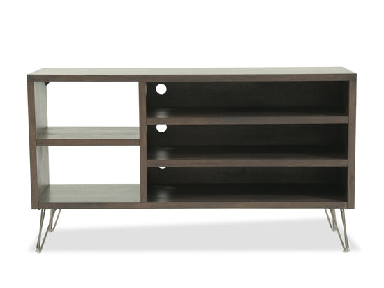 Open Shelf Mid-Century Modern Asymmetric Console in Medium Brown