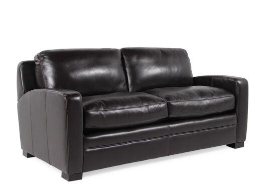 "Traditional Leather 73"" Full Sleeper Sofa in Black"