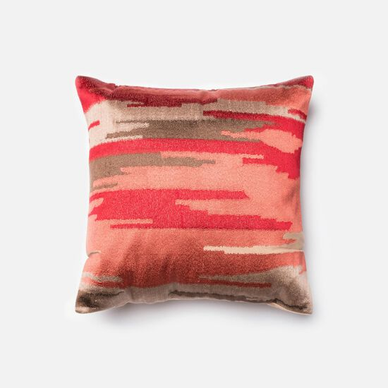 """Contemporary 18""""x18"""" Cover w/Down Pillow in Coral"""