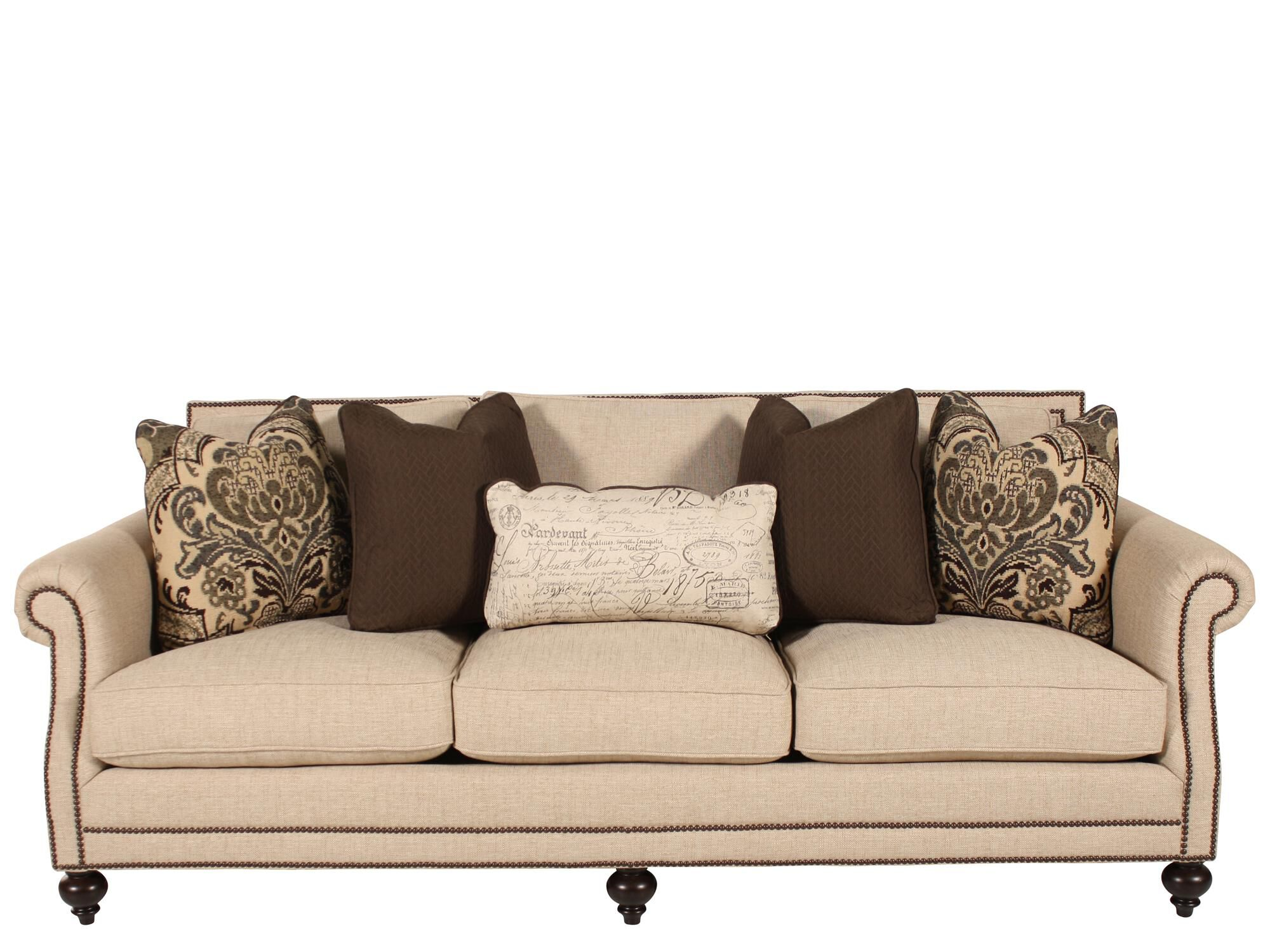 Delightful High Profile Nailhead Accented 92.5u0026quot; Sofa In Cream