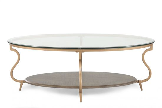 Glass Top Oval Contemporary Cocktail Table In Bronze