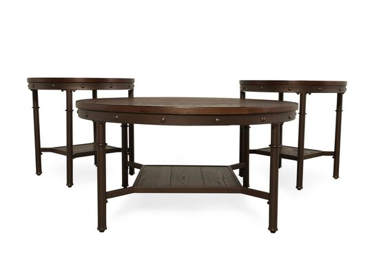 Three-Piece Rivet Accented Casual Coffee Table Set in Brown