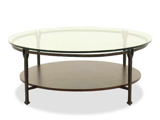 Glass-Top Round Modern Cocktail Table in Black