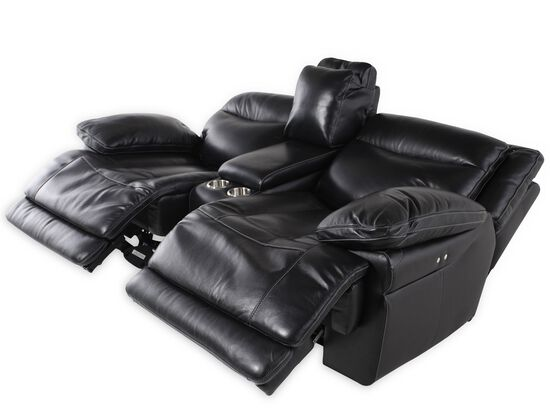 "Power Reclining Traditional 69"" Loveseat with Console in Midnight Black"