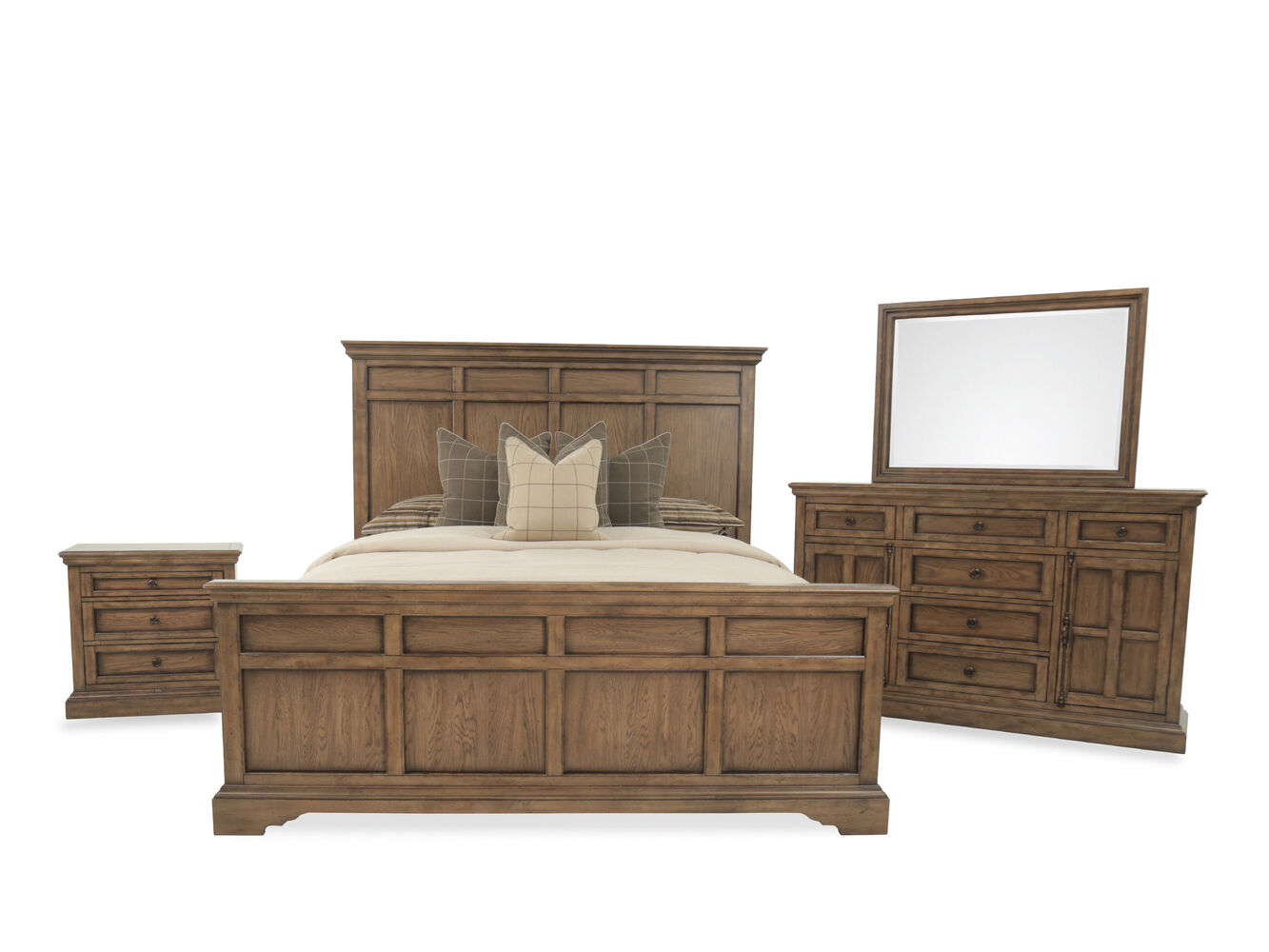 Four-Piece Transitional Bedroom Set in Brown | Mathis Brothers ...