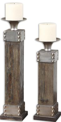 Uttermost Lican Natural Wood Candleholders, Set/2
