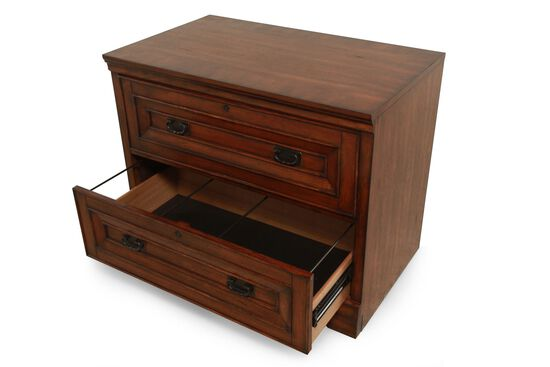 Two-Drawer Traditional Lateral File Cabinet in Rustic Oak