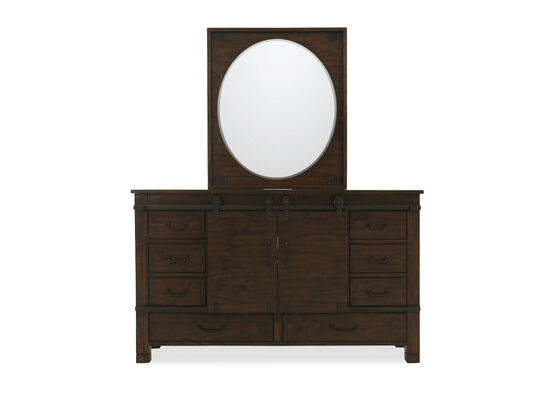 Two-Piece Solid Pine Dresser and Mirror in Brown