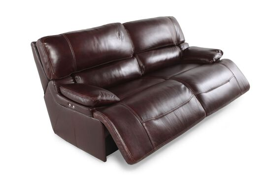 Leather 83 Quot Power Reclining Sofa In Cabernet Mathis
