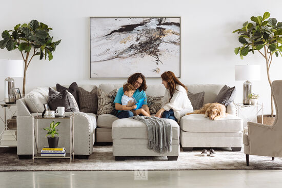 """Four-Piece Casual 127"""" Sectional in Chalk"""