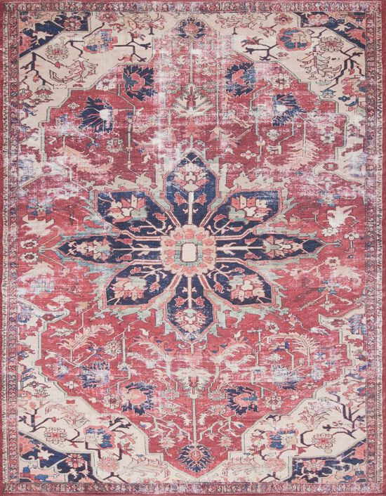 """Traditional 2'-3""""x3'-9"""" Rug in Rust/Ivory"""