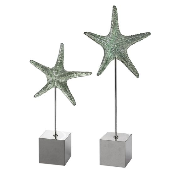 Two-Piece Starfish Sculptures in Pale Marine Green