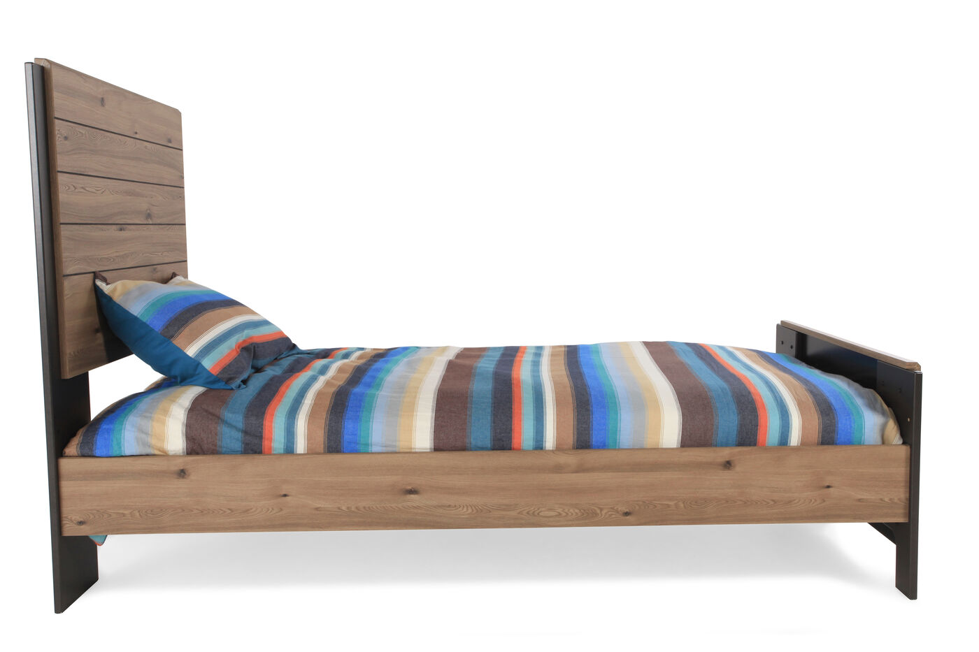 Contemporary Planked Youth Panel Bed In Brown Mathis