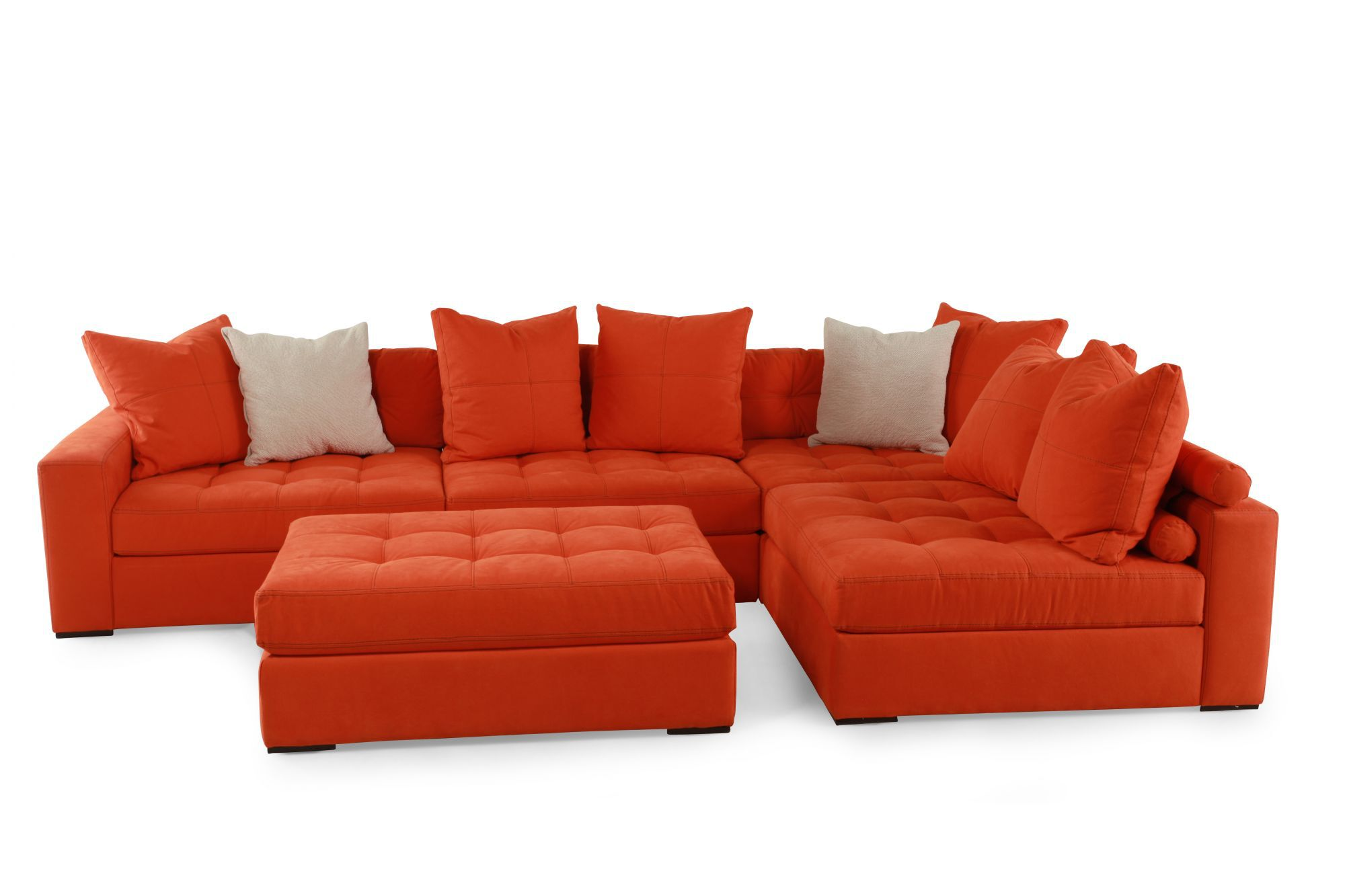 Five Piece Contemporary Tufted Sectional In Orange