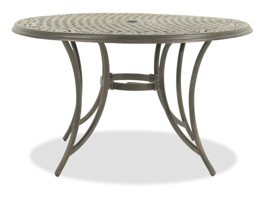 Cutout Detailed Casual Round Dining Table in Medium Brown