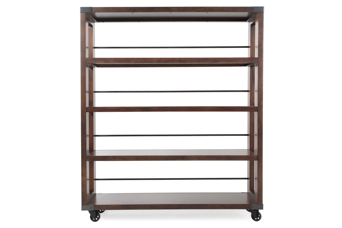 four shelf contemporary bookcase etagere in medium brown mathis brothers furniture. Black Bedroom Furniture Sets. Home Design Ideas