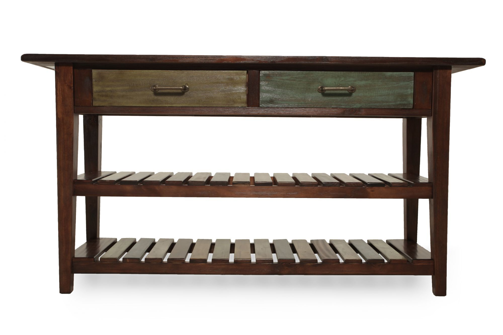 Two Xylophone Shelf Casual Console Table In Rustic Brown