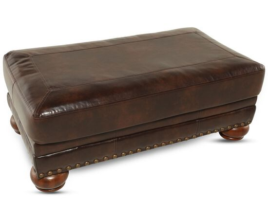 "Nailhead Accented Contemporary 43"" Ottoman in Brown"