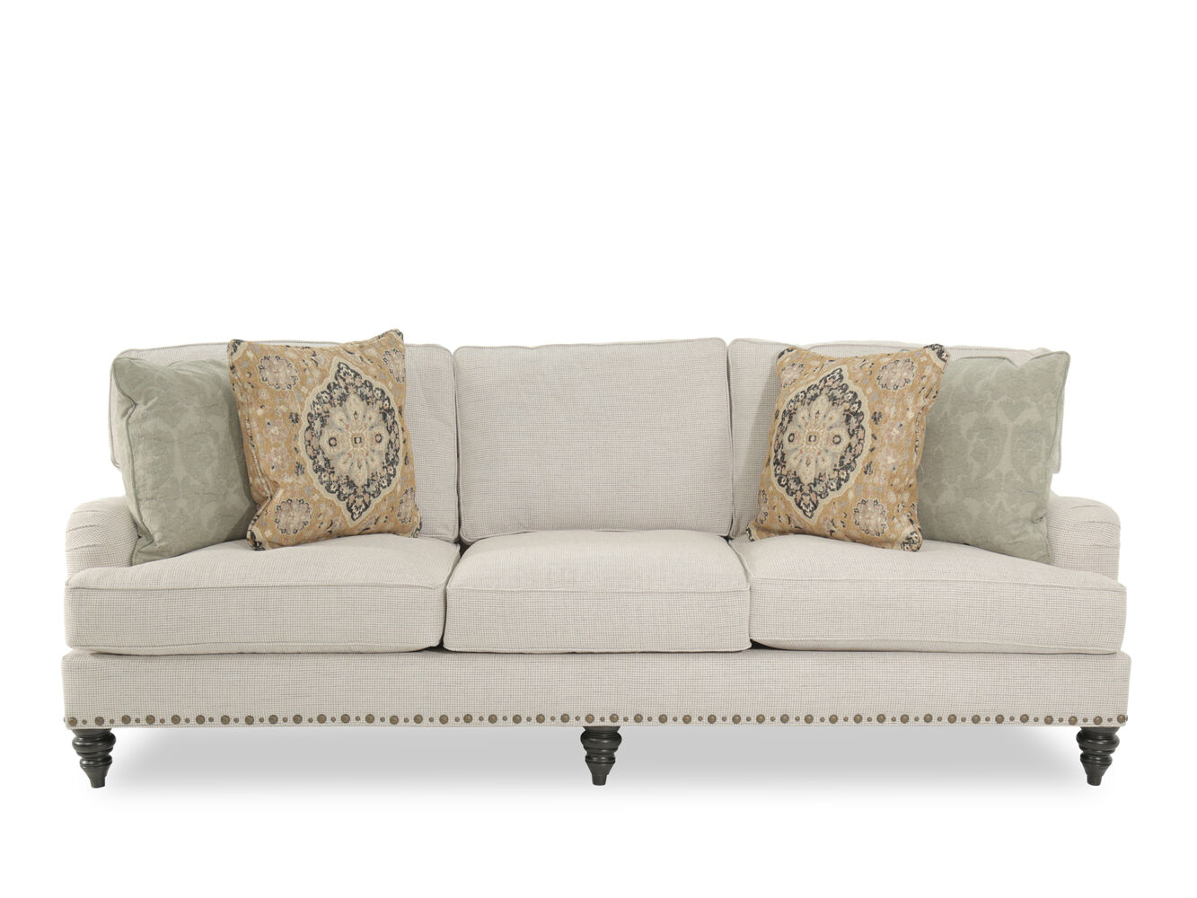 Traditional nailhead accented 99 sofa in cream mathis for Traditional couches