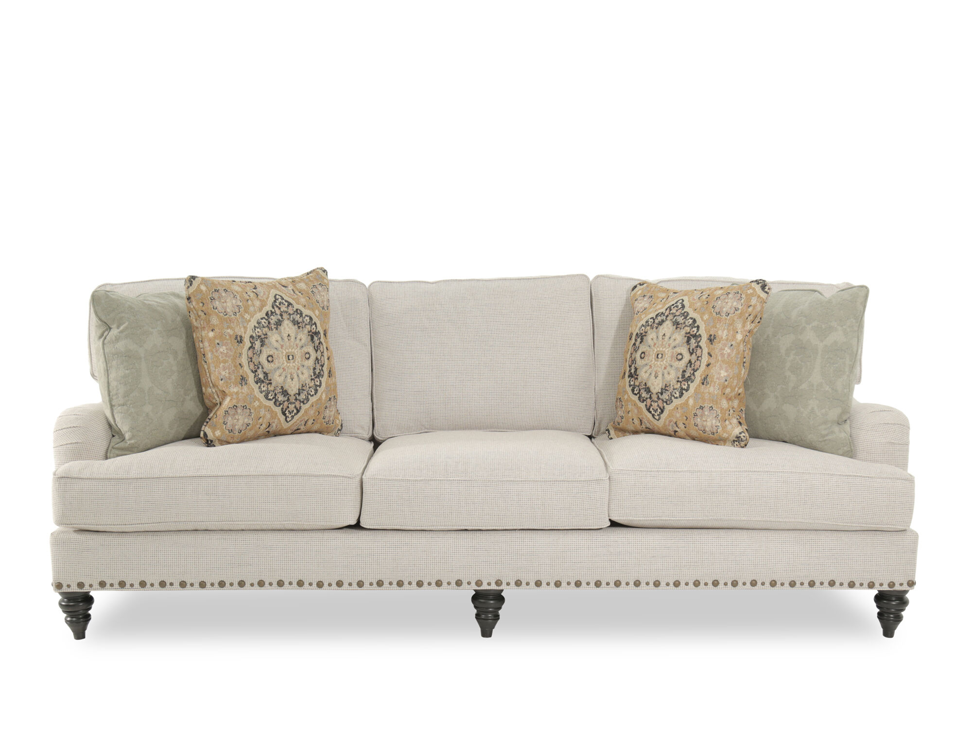 Nice Images Traditional Nailhead Accented 99u0026quot; Sofa In Cream Traditional  Nailhead Accented 99u0026quot; Sofa In Cream