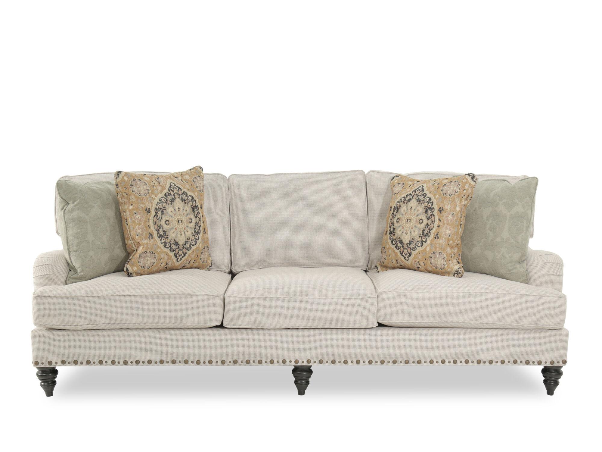Traditional Nailhead Accented 99u0026quot; Sofa In Cream