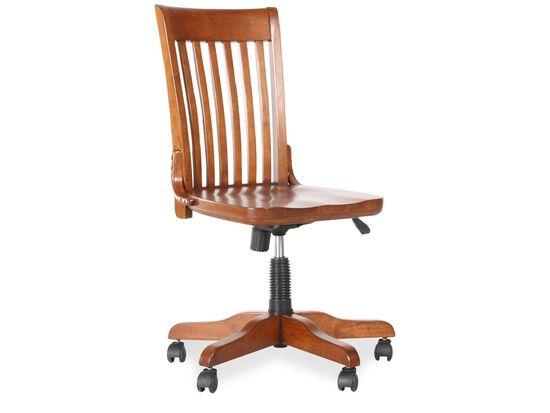 Slat Back Swivel Office Chairin Glossy Cinnamon