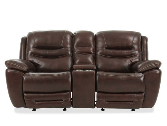 "Power Reclining Casual 83"" Glider Loveseat in Earthy Brown"