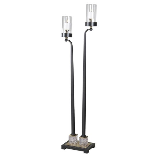 Crystal Accented Floor Candle Holderin Black